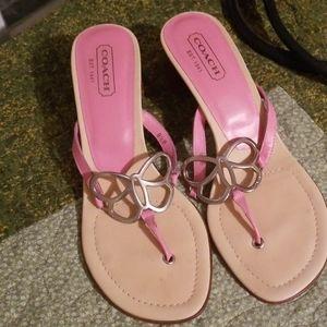 Coach sandals heeled pink butterfly kitten block